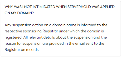 Why Was I Not Intimidated When Server Hold Was Applied to My Domain
