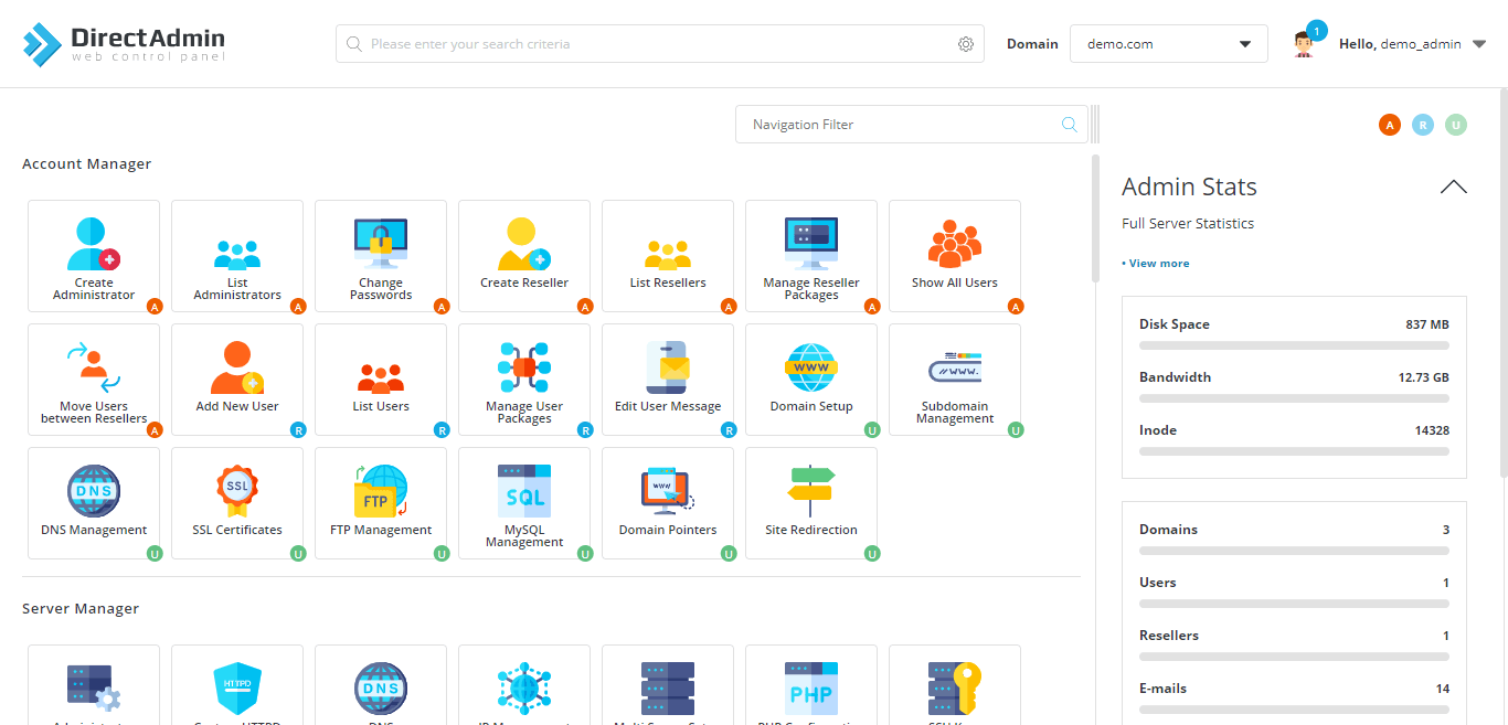 Bye-Bye to cPanel. Hello to DirectAdmin 1