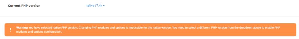 DirectAdmin Native PHP Warning