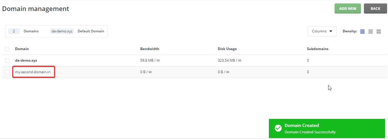 Add New Domain DirectAdmin Domain Created