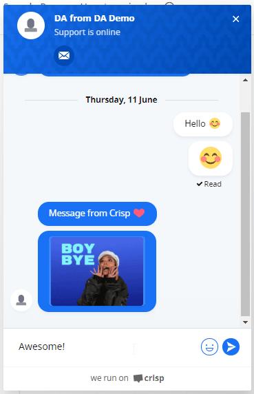 Crisp Chat Front End Demo