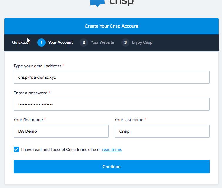 Crisp Chat Signup Email Address