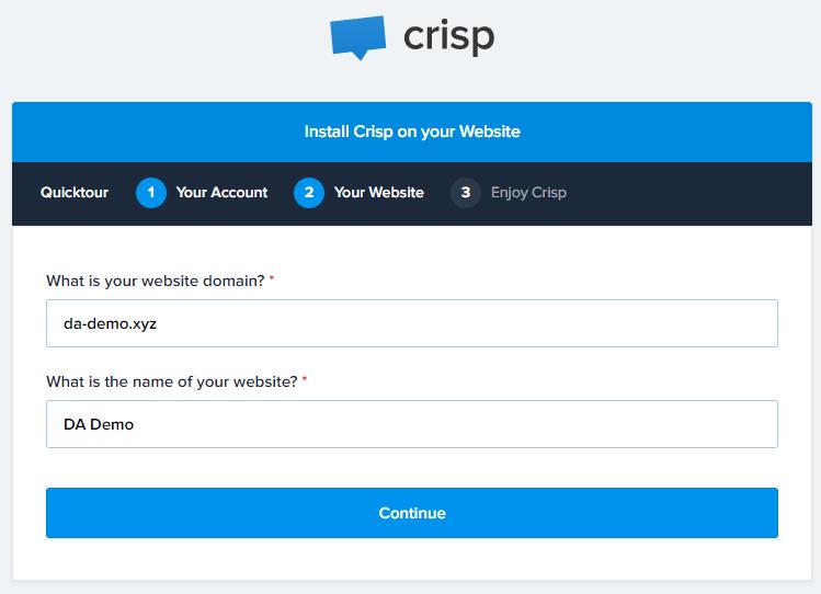 Crisp Chat Signup Website Domain