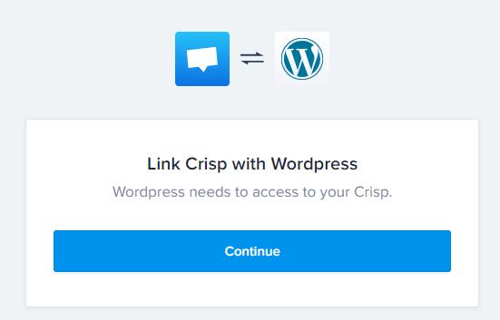 Link Crisp With WordPress Screen