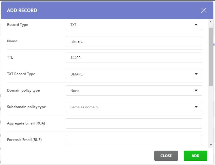 DirectAdmin Add DMARC Record