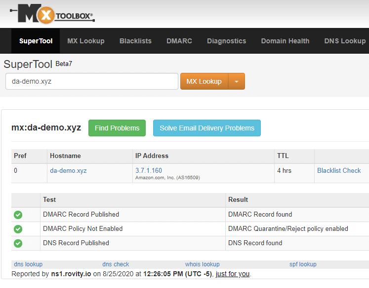 MX Lookup DMARC Passed