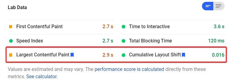 Core Web Vitals Metrics Results From Lab Data