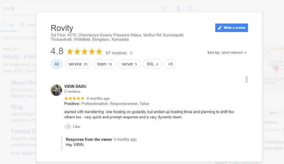 Rovity Google Review Vibin