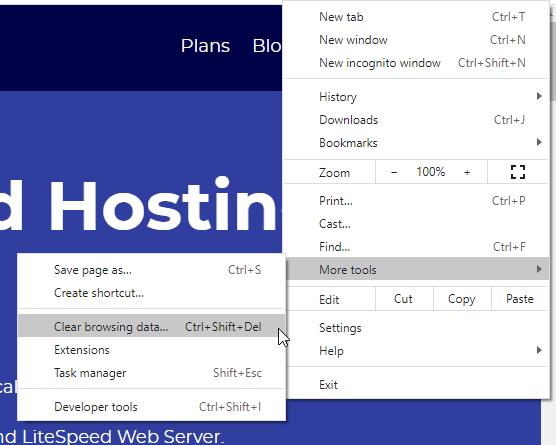 Clear Browsing Data in Chrome Settings Menu