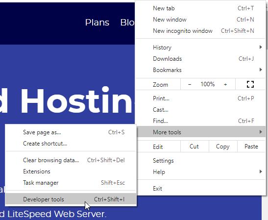 Developer Tools in Chrome Settings Menu