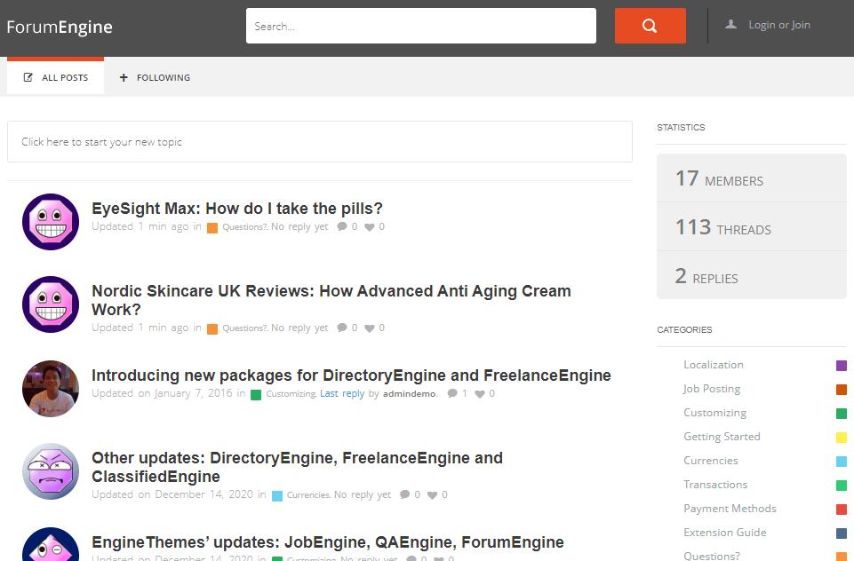 Forum Engine Demo
