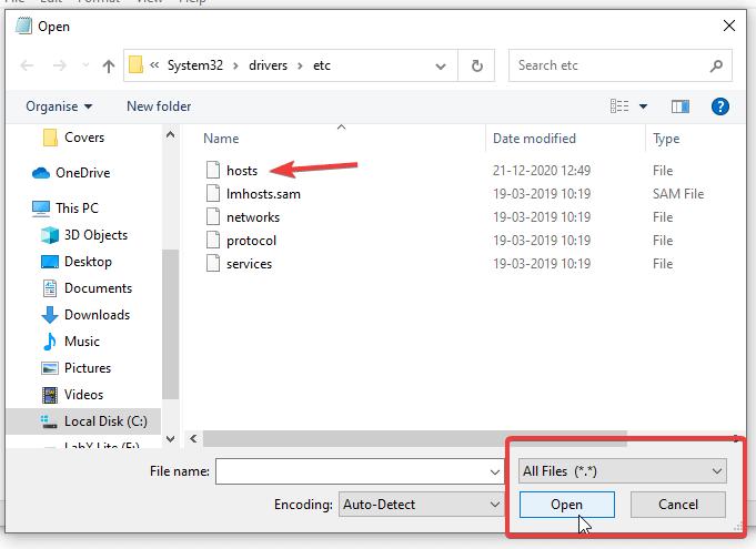 Open Hosts File