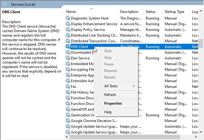 Restart DNS client service in Windows