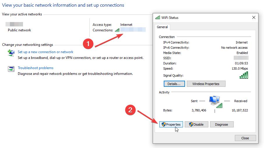 Wifi Status in Windows Control Panel