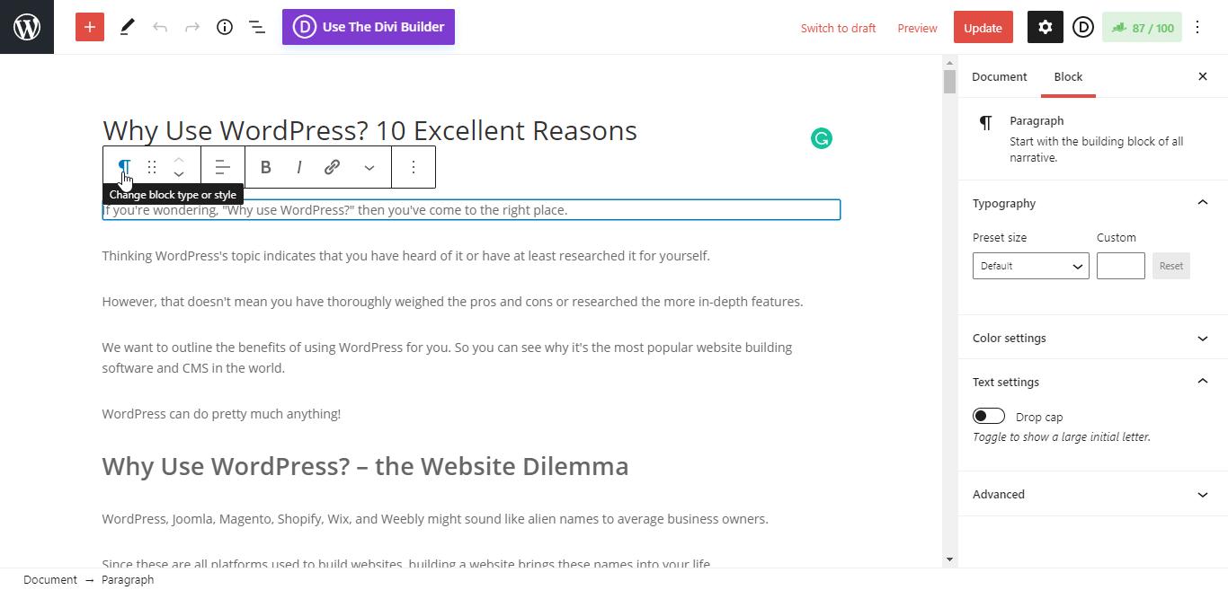 WordPress Blog Editor Interface