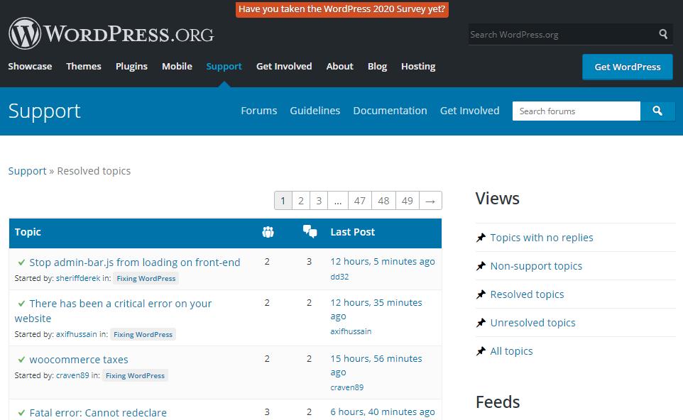 WordPress Support Forum Resolved Topics