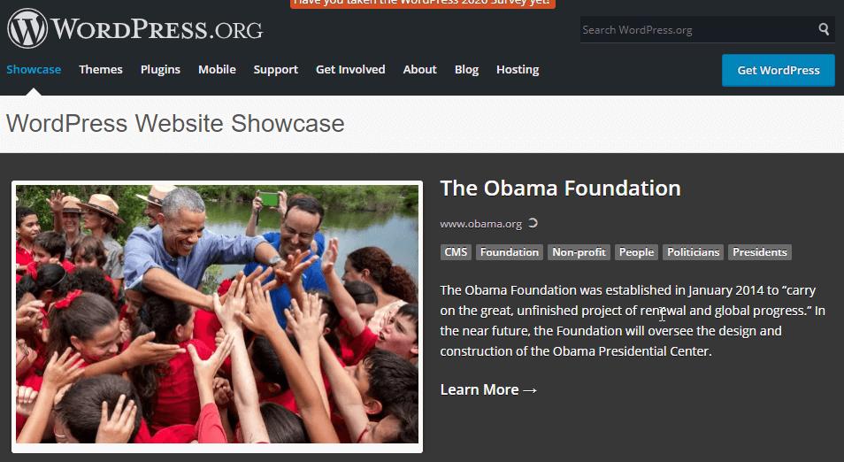 WordPress Website Showcase The Obama Foundation