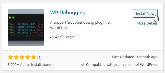 Wp Debugging Plugin in the WordPress Directory