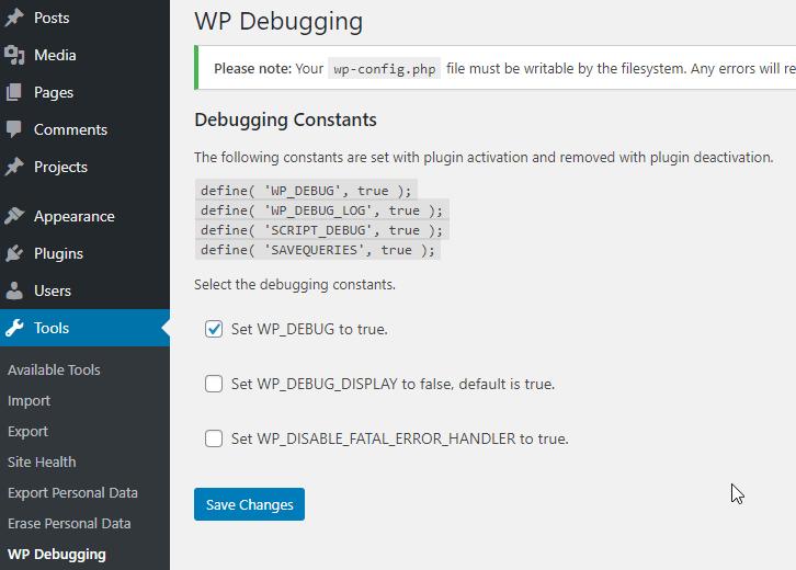 WP Debugging Settings Page