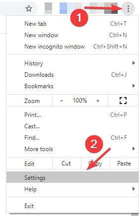Chrome Settings Menu