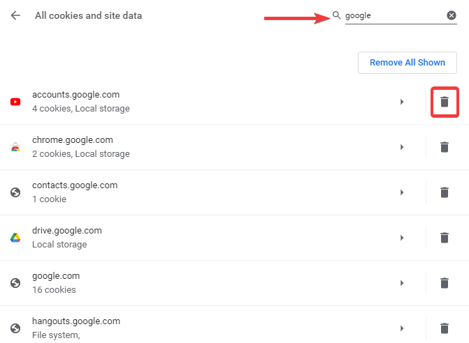 Delete Cookies and Site Data in Chrome