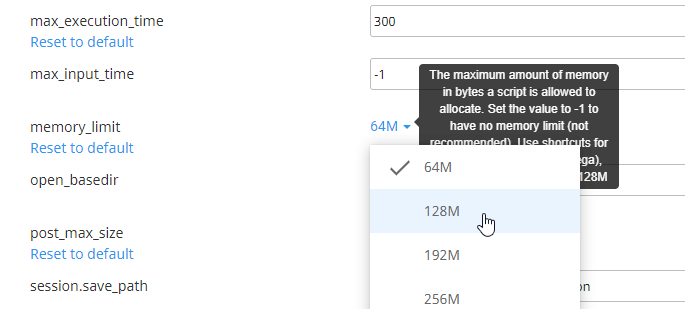 DirectAdmin Increase Memory Limit