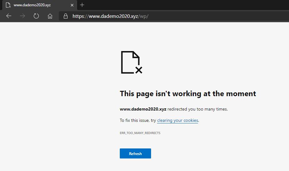 ERR_TOO_MANY_REDIRECTS in Microsoft Edge