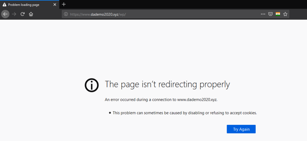 ERR_TOO_MANY_REDIRECTS in Mozilla Firefox