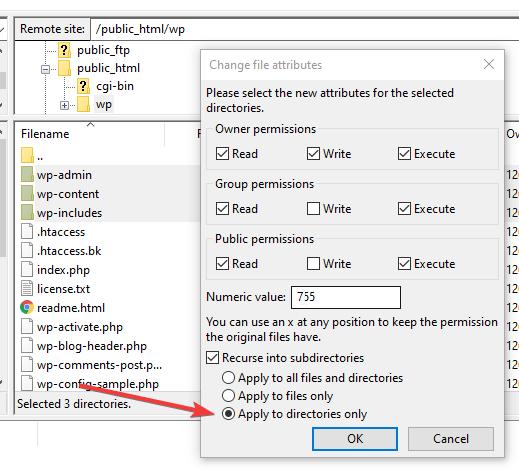 FileZilla WordPress Change Folder Permission Attributions