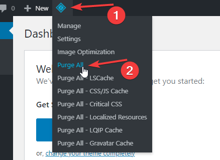 LiteSpeed Cache Purge All WordPress Admin Bar
