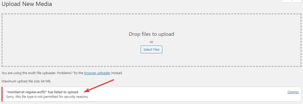 Montserrat Font Has Failed to Upload