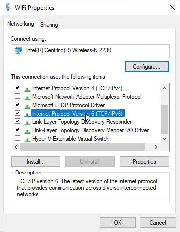 Turn off IPv6 Windows