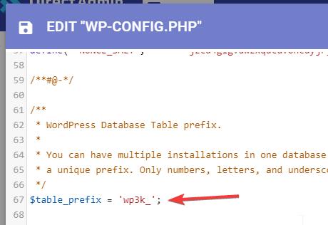 WordPress Database Prefix Config File