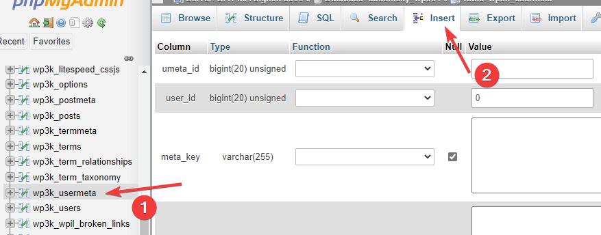 wp_usermeta Insert phpMyAdmin