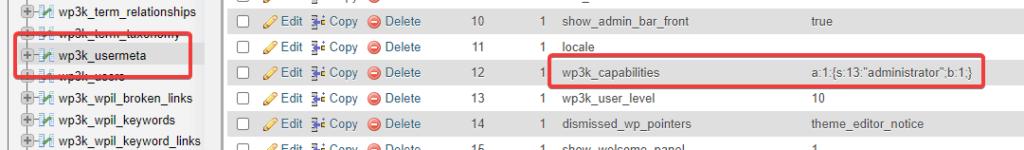 wp_usermeta Table phpMyAdmin