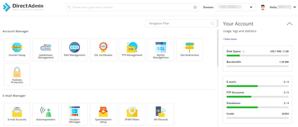 DirectAdmin Dashboard GUI